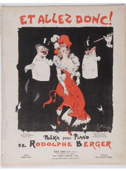 """Original Vintage French """"Et Allez Donc"""" Rodolphe Berger Musical Notes by Grun"""