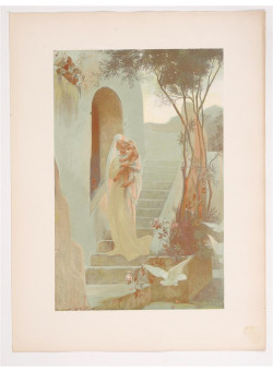"""Original Vintage French Lithograph ONLY L'Estampe Moderne N.24 """"L'Enfant"""" by Dubufe"""