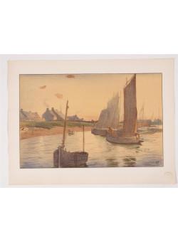 """Original French Litho ONLY L'Estampe Moderne N.19 """"Tristesse sur La Mer"""" Ulmann"""