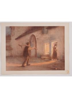 """Original French Litho ONLY L'Estampe Moderne N.17 """"Le Retour des Champs"""" MUENIER"""