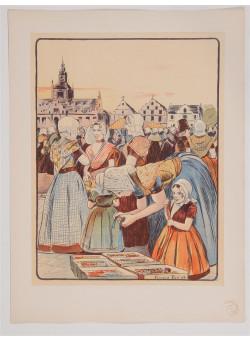 """Original Lithograph ONLY L'Estampe Moderne N.15 """"Un Marché en Zélande"""" by PIET"""