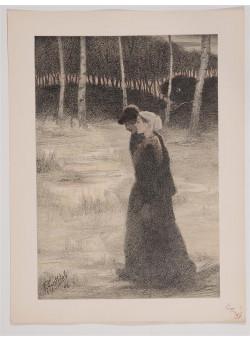 """Original French Litho ONLY L'Estampe Moderne N.12 """"La Promise"""" by F. Gottlob"""