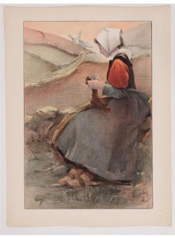"""Original Vintage French Litho ONLY L'Estampe Moderne """"Fleur de Lande"""" by J. Wely"""
