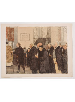 """Original French Litho ONLY L'Estampe Moderne N.8 """"Les marguilliers"""" by L. Simon"""