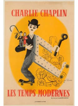 "Original  Charlie Chaplin Movie Poster ""Les Temps Modernes"" d'apres Leo Kouper ca. 1936"