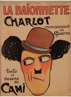 """Original Vintage French Magazine Poster """"La Baïonnette"""" Featuring Charlie Chaplin 1917"""