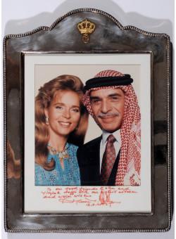 Historic Signed Photograph of King Hussein and Queen Noor of Jordan 1995
