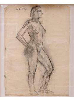 "Original Mane-Katz Charcoal on Paper ""Standing Nude"" Drawing"