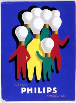 "Original  Advertising Poster Maquette for ""PHILIPS"" Lamps, Original."