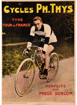 """Original Vintage Belgian Poster for """"Cycles Ph.Thys"""" Bicycles"""