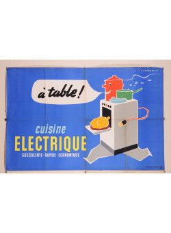 "Original Vintage French Poster for ""Cuisine Electrique"" by J. Jacquelin"