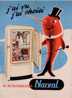 "Original Vintage French Advertising Poster for ""Narval"" Refrigerator"