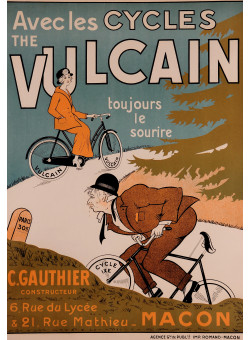 """Original Vintage Advertising French Poster for  """"Vulcain"""" bicycles bikes"""