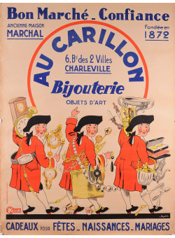"""Original Vintage French Poster for """"Au Carillon""""  a Shop That Sold Jewelry,"""