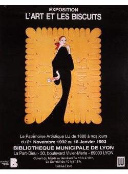 Original Vintage French Poster for L'Art et les Biscuits Exhibition