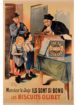 """Vintage French REPRINT Lithograph Poster For """"Olibet Bisquits""""  by Oge"""