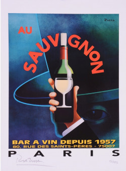"Limited Ed. Hand Signed Print ""Au Sauvignon"" by Razzia 151/995"