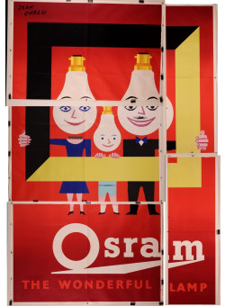 """Original Vintage French Billboard Poster for """"Osram"""" Lamp by Jean Colin RARE"""
