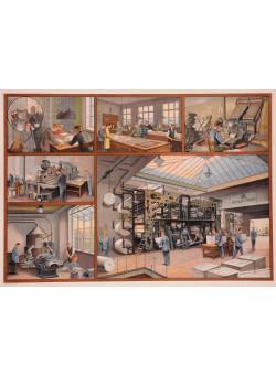 Original Vintage French Poster Describing A Newspaper Printing Shop .
