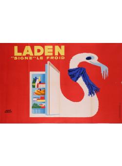 Original Vintage French Advertising Poster For  Laden Refrigerator by Herve Morvan
