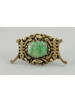 Costume Jewellry Chinese Brooch Pin with Faux Jade stone 1960's Mad Men Style