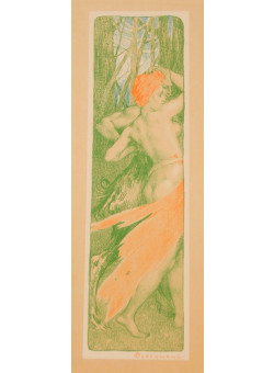 "Original Lithograph ""Renouveau"" by Émile Berchmans for L'Estampe moderne 1897"