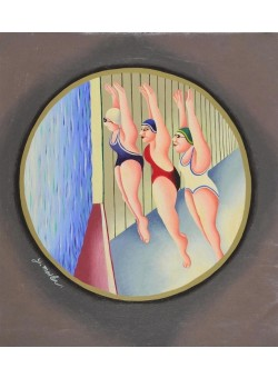 """Original Acrylic on Canvas painting """"Olympic Games Swimming"""" by Yuval Mahler"""