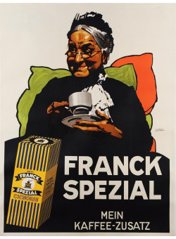 "Original Vintage German Cafe Poster ""Franck Spezial"" by Ludwig Hohlwein 1929"