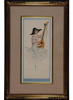 Original Lithograph by Camps circa 1900 Sold in Silk Mat Gold Leaf Frame
