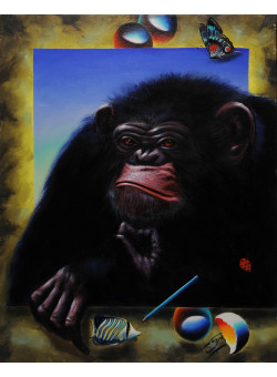 "Original Acrylic on Canvas "" The Monky"" by Ferjo"
