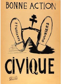 Original French Poster Bonne Action CIVIQUE Student revolution 1968 Atelier Populair