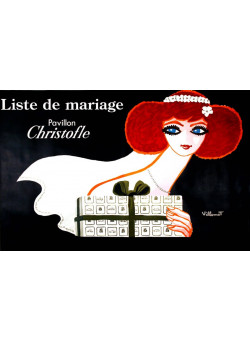 """Original Vintage French Poster for """"Christofle's products""""  by Bernard VILLEMOT Extremely RARE"""