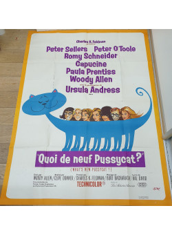 """Original French Movie Poster for """"Quoi de Neuf Pussycat?"""" With Peter Sellers"""
