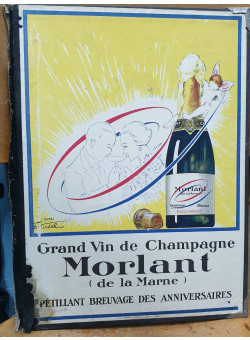 "Cardboard Advertising Sign  ""Grand vin de Champagne Morlant"""