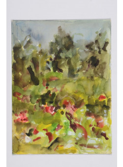 Signed Watercolor on Paper Abstract Landscape by Robert Harms