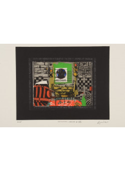 """Original Vintage American Etching""""Common Ground VII"""" by Mohammad Omar Khalil 1990's  - 3/25"""