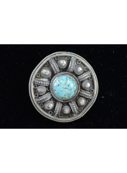 Vintage Bezalel Israel Round Ethnic Silver Pin Brooch Turquoise Gemstone