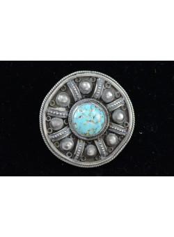 Vintage Bezalel Israel Round Ethnic Silver Pin Brooch Turquoise Gemstone