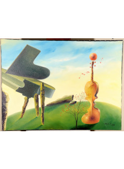 """Original Signed Acrylic on Canvas Painting """"Duet"""" Contemporary Chinese Art by Hei Feng."""