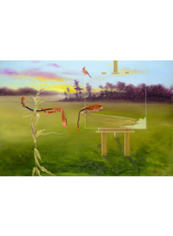 """Original Signed Acrylic on Canvas Painting """"Fields With Music"""" Contemporary Chinese Art by Hei Feng."""