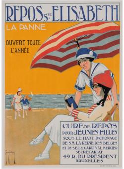 """Original Vintage Belgian Poster for """"Repos Saint Elisabeth - La Panne"""""""