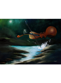 "Original Chinese Contemporary Art Acrylic on Canvas ""Midnight Serenade"" Hei Feng 2005"