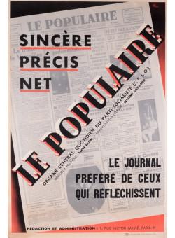 Original Vintage French Poster for Sincere, Precis, Net: Le Populaire, 1938  color lithographic print on color paper