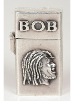 """""""Get Up. Stand up .."""" Lighter Bob Marley Silver Refillable Windproof Oil Petrol Lighter Flip Top Very Rare"""