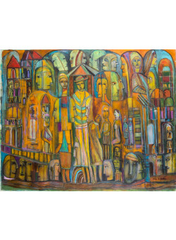 """Original Extremely Rare Acrylic on Canvas Painting """"The Crowd"""" by The  legendary Mosad Agent Peter Malkin"""