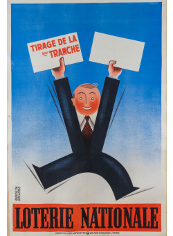 """Original Vintage French Poster for """"Loterie Nationale"""" by Derouet Grilleres 1936 - LARGE"""