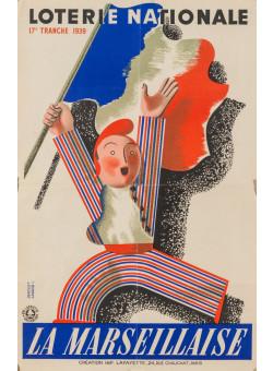 """Original French Vintage Poster """"Loterie Nationale""""  -  LA MARSEILLAISE by Derouet Lesacq"""