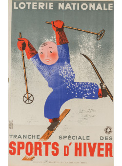 "Original Vintage Loterie Nationale Poster  ""Sports d' Hiver"" by Derouet Lesacq 1938"