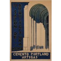 """Original Vintage French Exhibition Poster for """"VI Salon de Arquitectura Ateneo"""""""