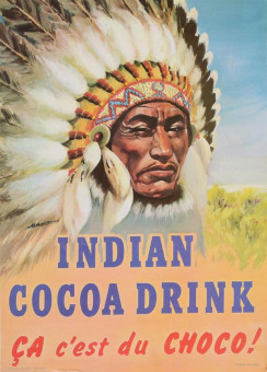 Original Vintage French Poster - Indian Cocoa Drink - Cacao Signed